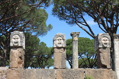 Satiric masks in Ostia Antica Royalty Free Stock Image