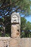 Satirisch masker in Ostia Antica stock afbeelding