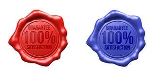 Satisfação ajustada selo da garantia da cera (vermelho, azuis) - 100% Imagem de Stock Royalty Free
