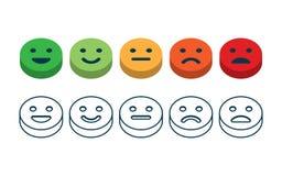 Satisfacción del grado Reacción en la forma de emociones stock de ilustración