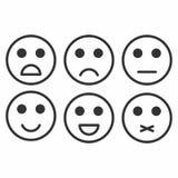 Satisfacción del grado Reacción en la forma de emociones monocromáticas, smiley, emoji libre illustration