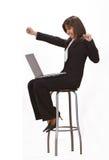 Satisfacción del ordenador Foto de archivo