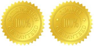 Satisfacción y sellos garantizados calidad del oro Foto de archivo libre de regalías