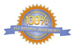 100% Satisfaction all natural ingredients. 100% Satisfaction Guarantee all natural ingredients badge and ribbon style design element on white background Royalty Free Stock Image