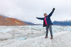 Satisfaction of being on the Viedma glacier, patagonia, argentin Royalty Free Stock Image