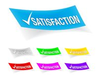 Satisfaction check mark,stickers Stock Images