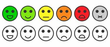 Satisfaction d'estimation Rétroaction sous la forme d'émotions monochromes et colorées, emojis illustration stock
