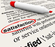 Satisfaction Dictionary Definition Circled Marker Happiness Plea. Satisfaction word circled in a dictionary definition page to illustrate gratification, pleasure Royalty Free Stock Image