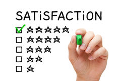 Satisfaction Five Stars Checklist Concept. Hand putting check mark with green marker on five stars in customer satisfaction checklist form Stock Photo