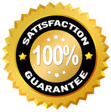 Satisfaction guarantee. 100 percent satisfaction guarantee label Stock Image