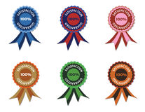 Satisfaction guarantee. Vector illustration of six satisfaction guarantee seals, in various color combinations Royalty Free Stock Photos