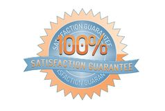 100% Satisftaction Guarantee stamp on white. 100% Satisfaction Guarantee badge and ribbon style design element on white background Royalty Free Stock Photography