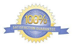 100% Satisftaction Guarantee stamp on white. 100% Satisfaction Guarantee badge and ribbon style design element on white background Royalty Free Stock Photo