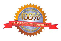 100% Satisftaction Guarantee stamp on white. 100% Satisfaction Guarantee badge and ribbon style design element on white background Royalty Free Stock Images