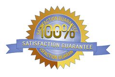 100% Satisftaction Guarantee stamp on white. 100% Satisfaction Guarantee badge and ribbon style design element on white background Stock Photography
