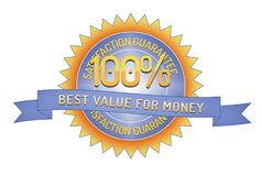 100% Satisfaction Guarantee Best Value for Money. Badge and ribbon style design element on white background Royalty Free Stock Image