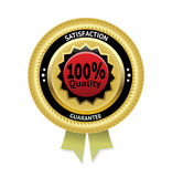 Satisfaction guarantee gold vector label. Eps 10 Stock Photos