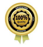 Satisfaction guarantee gold vector label. Eps 10 Royalty Free Stock Photography