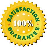 Satisfaction guarantee golden sign illustration. 100 percent satisfaction guarantee golden sign illustration for business pamplets vector illustration