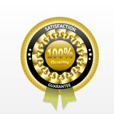Satisfaction guarantee golden vector label. With ribbon. eps 10 Royalty Free Stock Image