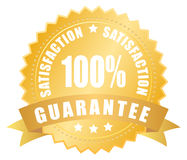 Satisfaction guarantee label. Illustration of golden satisfaction guarantee label Stock Photos