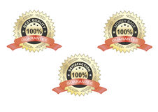 Satisfaction guarantee label,  red. Satisfaction guarantee and money back guarantee golden rosette with b red ribbons Royalty Free Stock Photography