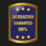 Satisfaction guarantee label vector. Satisfaction guarantee label on black background, vector illustration Stock Image