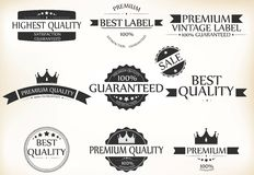 Satisfaction Guarantee Label and Vintage Premium Quality set Stock Photo