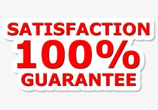 Satisfaction 100% Guarantee Red Sign. Vector icon Stock Image