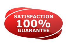 Satisfaction 100% guarantee Red sign. Vector icon Royalty Free Stock Photography