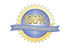100% satisfaction guarantee ribbon and badge. Style design element on white background Royalty Free Stock Image