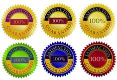 Satisfaction guarantee seal. Six customize as necessary Royalty Free Stock Image