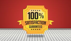100% Satisfaction Guarantee Seal Design in 3D Room View.  vector illustration