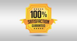 100% Satisfaction Guarantee Seal Design Illustrated.  stock illustration