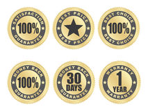 Satisfaction guarantee seals. Set of golden satisfaction guarantee seals Stock Photography