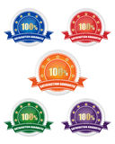 Satisfaction guarantee sign collection. Collection of coloured satisfaction guarantee sign Stock Photography