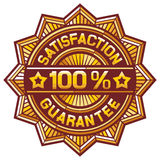 100 percent satisfaction guarantee label. Satisfaction guarantee sign, satisfaction guarantee symbol, satisfaction guarantee label, satisfaction guarantee seal stock illustration