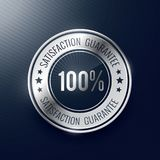 Satisfaction guarantee silver label and badge Stock Images