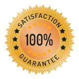 100% satisfaction guarantee stamp isolated on white. 100% satisfaction guarantee stamp ribbon and badge style design element on white background Stock Illustration