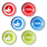 Satisfaction guarantee stickers - gesture hand Stock Photography