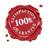 Satisfaction Guarantee Warranty. Red wax seal with central text 100 percent satisfaction guarantee isolated on white background royalty free illustration