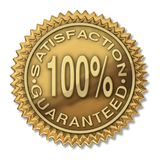 Satisfaction guaranteed 100% gold stamp. Certification isolated on white Stock Images