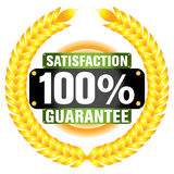 Satisfaction guaranteed. The Illustration of a gold seal and red ribbon with the message Satisfaction 100% Guaranteed Stock Photo
