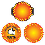 Satisfaction guaranteed. The Illustration of a gold seal and red ribbon with the message Satisfaction 100% Guaranteed Royalty Free Stock Image