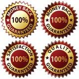 Satisfaction Guaranteed. Money Back Guaranteed and 100% Satisfaction Guaranteed Sign Set Royalty Free Stock Images