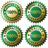 Satisfaction Guaranteed. Money Back Guaranteed and 100% Satisfaction Guaranteed Sign Set Stock Photos