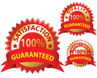 Satisfaction Guaranteed. Money Back Guaranteed and 100% Satisfaction Guaranteed Sign Set Royalty Free Stock Photography