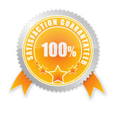Satisfaction guaranteed. 100% satisfaction guaranteed  badge isolated Royalty Free Stock Photos