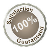 Satisfaction Guaranteed. 100 % Satisfaction guaranteed sign Icon for web or print use. Let know your customers that they can trust you stock illustration