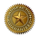 Satisfaction Guaranteed. Gold seal with star rating on a white background with full warranty and quality customer service on a golden award badge medal as an Royalty Free Illustration
